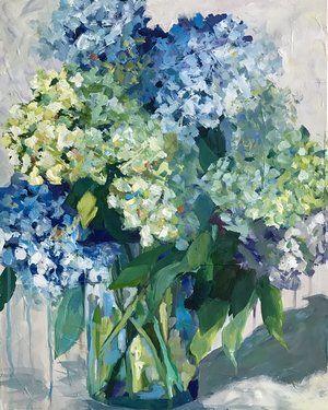 Cindy Hawkes Artcindy Hawkes Art Flower Painting Canvas Hydrangea Painting Blue Flower Painting