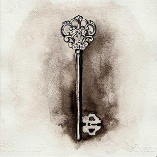 Vintage Skeleton Key Tattoo Design