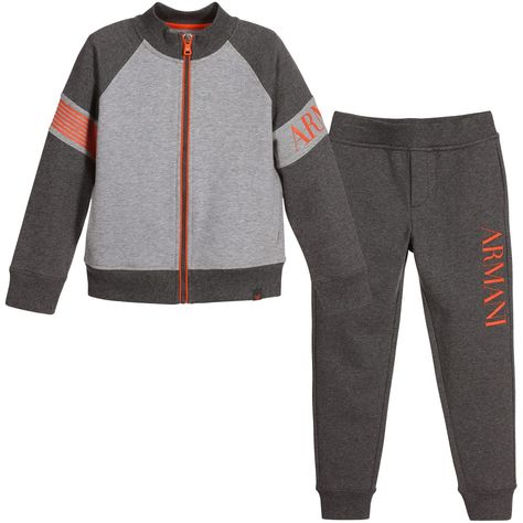 4a2c4db62 Armani Junior - Boys Grey Tracksuit with Orange Logo Trim