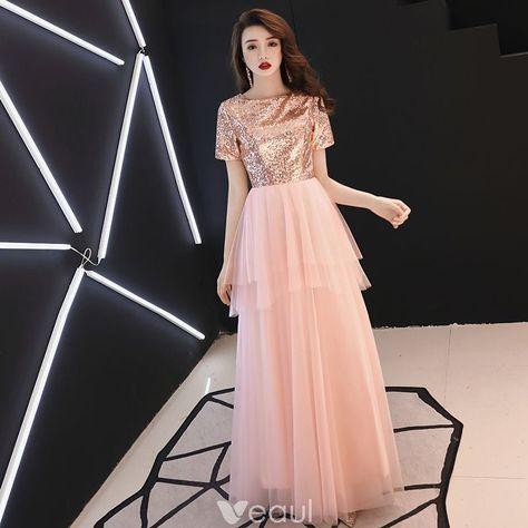 daac6b2b6d Niedrogie Rumieniąc Różowy Sukienki Wieczorowe 2019 Princessa Kwadratowy  Dekolt Kótkie Rękawy Cekiny Długie Wzburzyć Sukienki Wizytowe