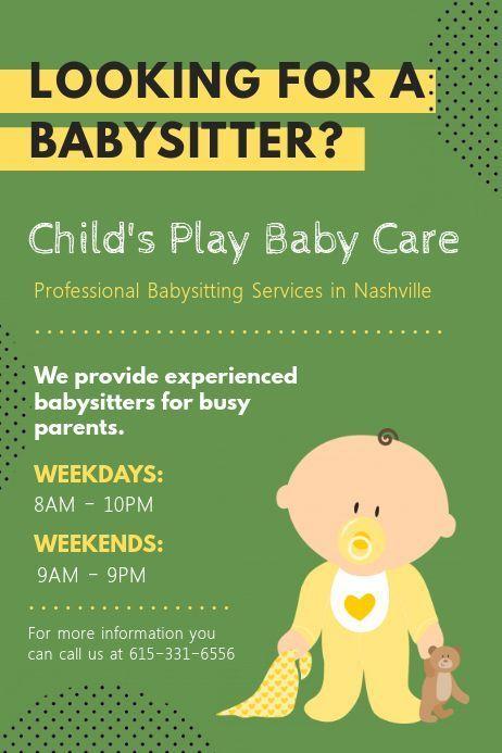 Daycare Werbeplakat In 2020 Kinderbetreuung Babysitten Flyer Vorlage