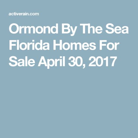 Ormond By The Sea Fl First Quarter Home Sales Analysis