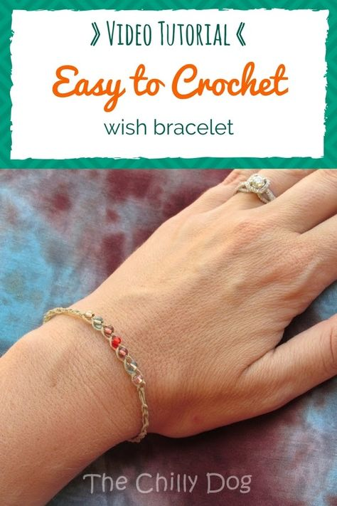 Crochet Tutorial: Wish Bracelets - Shez Risses - Crochet Tutorial: Wish Bracelets Crochet Video Tutorial: How to crochet and easy, beaded wish bracelet for summer. This is a good beginner crochet project. Crochet Bracelet Tutorial, Crochet Tutorial, Crochet Bracelet Pattern, Crochet Jewelry Patterns, Crochet Video, Crochet Beaded Bracelets, Beaded Bracelets Tutorial, Hemp Bracelets, Wish Bracelets