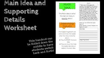 Students Get To Find The Main Idea And Supporting Details From A Short Story On This Handout The Handout Also Includes Supporting Details Main Idea Supportive