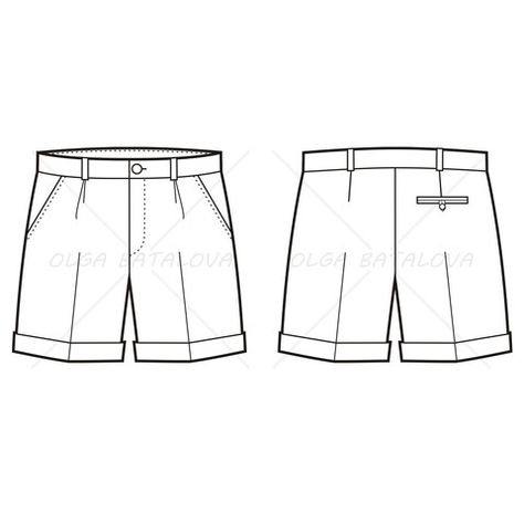 Men's Pleated Shorts Fashion Flat Template