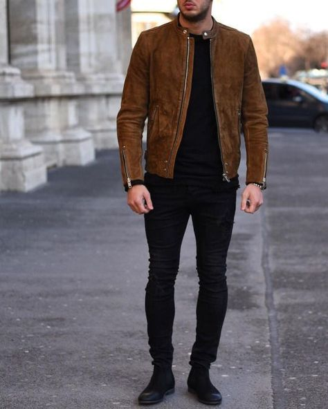 Mens Fashion brown Suede biker Jacket, Mens casual Suede Jacket, Men jackets sold by Rangoli Collection. Shop more products from Rangoli Collection on Storenvy, the home of independent small businesses all over the world.