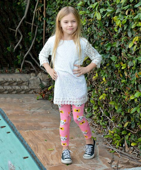 Pink Kitty Flower Leggings - Girls | zulily