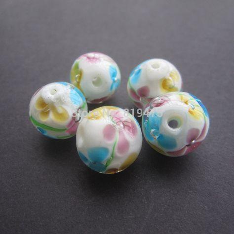 Aqua A4559 10 pcs of 12mm Lampwork Glass Round Beads