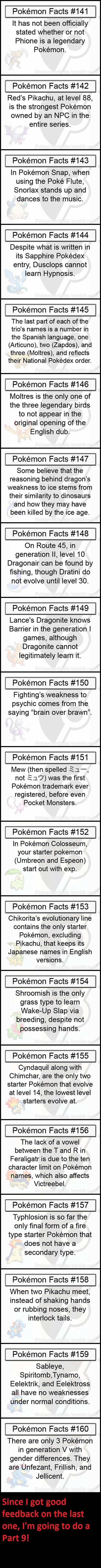 Pokemon Facts. Fact 159 is outdated now thanks to Fairy, but still interesting.