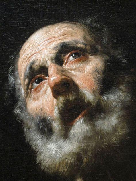 """""""The Penitent Saint-Pierre"""". A close-up of Saint-Pierre by José de Ribera . - """"The Penitent Saint-Pierre"""". A close-up of Saint Peter by José de Ribera – was a Spa - Classic Paintings, Old Paintings, Beautiful Paintings, Rembrandt Paintings, Baroque Painting, Baroque Art, Arte Do Pulp Fiction, L'art Du Portrait, Spanish Painters"""