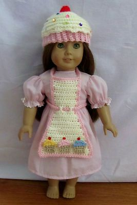 """Cupcake Hat and Apron Fits American Girl and 18"""" Dolls"""