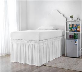 Extended Dorm Sized Bed Skirt Panel With Ties White For Raised Or Lofted Beds Dorm Bedding Bed Linen Design Under Bed Storage