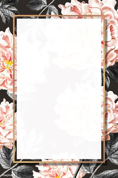 Golden floral peony frame vector   premium image by rawpixel.com / sasi