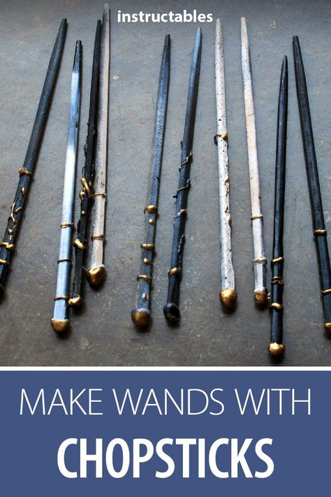 Make cheap and easy Harry Potter wands with chopsticks! #upcycle #craft #costume #cosplay #prop #Halloween