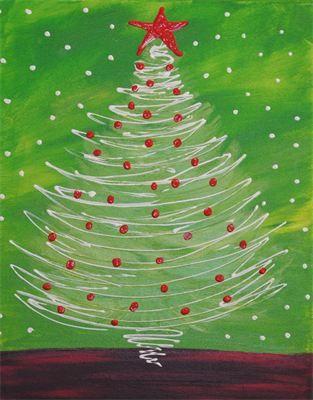peindre le sapin avec de la colle  Passer une couche d'encre pour le fond puis décoré