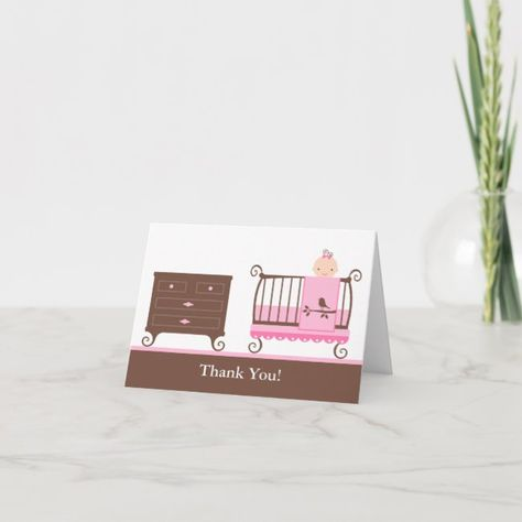 Baby Girl Nursery Thank You Card #baby #shower #baby #babies #new #ThankYouCard
