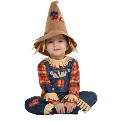Toddler Boys Friendly Scarecrow Costume Size 3-4T Shirt Hat Pants Belt Halloween