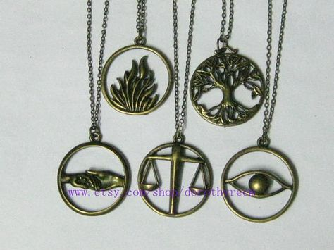 a set of 5pcs The original  Inspired-The flames of courage Erudite,Candor,Amity,Dauntless,Abnegation necklace