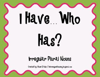 Free! I Have...Who Has Irregular Plural Nouns!!!