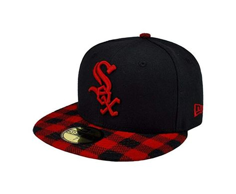 New Era 59fifty MLB Chicago White Sox Hat Premium Fitted Black with Red Cap d172c292809b
