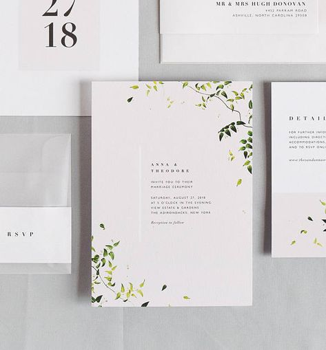 Simplistic foliage and soft cream hues combine with modern, elegant text. This wedding invitation suite mixes classical themes and modern style for a minimalistic, fresh look. The perfect invitation to set the tone for a modern garden or nature inspired wedding. - - - - - > This
