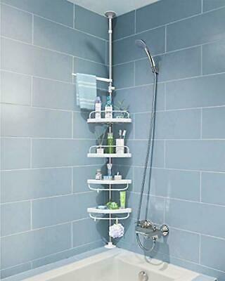 Advertisement Adovel 4 Layer Corner Shower Caddy Adjustable Shower Shelf Constant Tension St In 2020 Shower Shelves Corner Shower Caddy Corner Shower