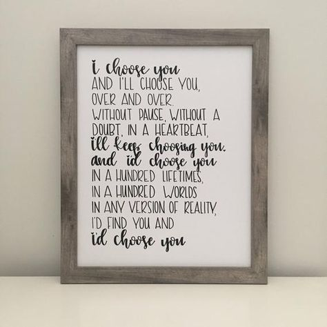 This is a completely handwritten sign, exactly as shown in the photo. It is perfect for bedroom decor, anniversary gift, wedding, and much more! Please note that this is a digital item and nothing physical will be shipped to you. Frame is not included. Spacing is left around the edges for framing