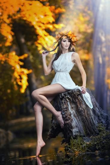 'Portrait of Beautiful Girl in the Forest Girl with Fairy Look in Autumnal Shoot' Photographic Print - iancucristi | Art.com