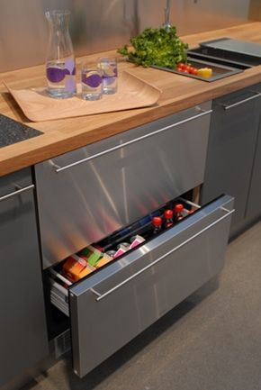 Norcool Fridge Hides Food In Cold Drawers Contemporary Kitchen Kitchen Renovation Refrigerator Drawers