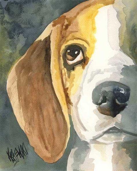 Beagle Art Print of Original Watercolor Painting  by dogartstudio, $24.50