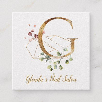 Letter G With Gold Geometric Design And Flowers Square Business Card Zazzle Com Square Business Card Square Business Cards Design Gold Geometric