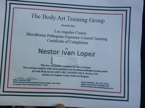 Certificate of bloodborne exposure control training Suciosink - training certificate