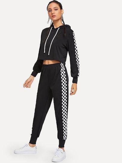 Capucha de cuadros con pantalones | Adidas mujer ropa, Ropa ...