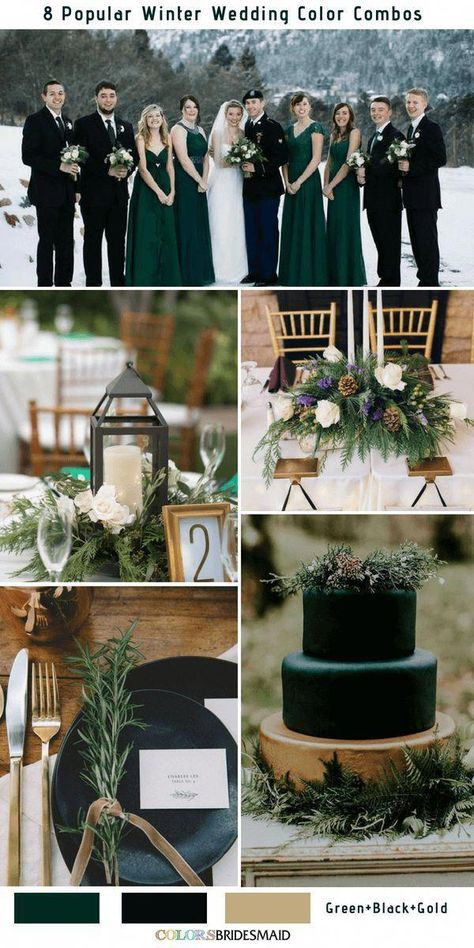 8 Winter Wedding Color Combos for 2018 - Green, Black and Gold - Farbschema Hochzeit -