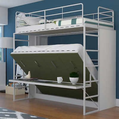 Jessie Twin Over Full Murphy Bunk Bed With Desk Green Ebay Murphy Bunk Beds Bunk Bed With Desk Bunk Beds