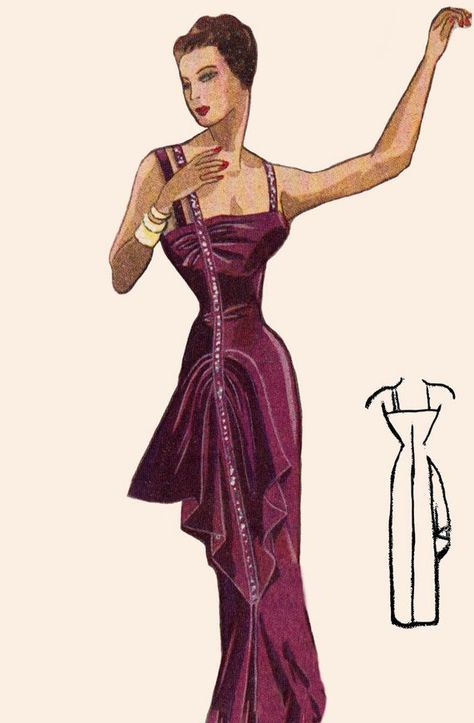 feb5f43beb7 Vintage Sewing Pattern 1940 s Evening Gown in Any Size - PLUS Size Included  - Depew 4918