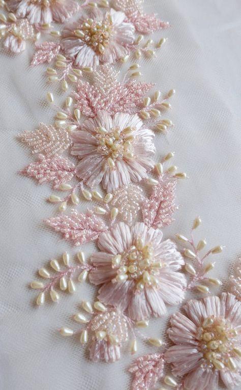 Vestido de encaje Blonda a mano Apliques De Novia Adorno Floral Con Cable de boda Hágalo usted mismo Motif 1 Par