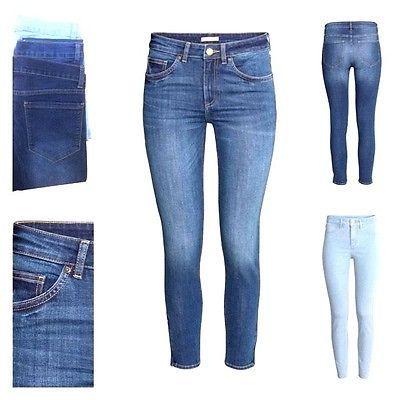 Ladies Ex Zara Sand Wash Stretchy Slim Skinny Denim Womens Blue Jeans