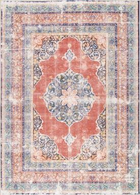 Rugs Usa Orange Soltera Flowering Wreath Medallion Rug Traditional Rectangle 9 10 X 13 8 Rugs Rugs Usa Buy Rugs