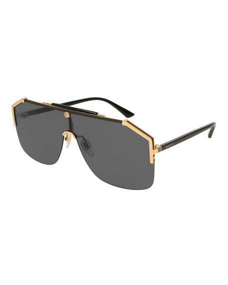Gucci Geometric Metal Shield Sunglasses In 2021 Mens Designer Sunglasses Men Sunglasses Fashion Mens Glasses Fashion