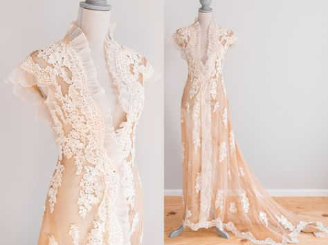 Antique Tea-Stained Victorian Edwardian Wedding/Dressing