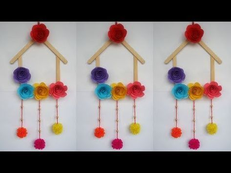 Paper Flower Wall Hanging Diy Hanging Flower Wall Decoration Ideas Youtube Ice Cream Stick Craft Craft Stick Crafts Popsicle Crafts