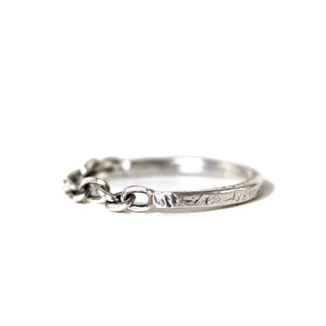 Chain Ring, Handcrafted Oxidized Sterling Silver Ring, Mens Ring, Cable Ring, Oxidized Ring, Mens Jewelry, Gift, For Him, Industrial Ring
