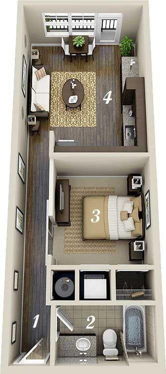 3 Inspiring Studio Apartment Design Plans That You Can Follow To Rearrange Your Apartment Container House Interior Tiny House Plans Container House