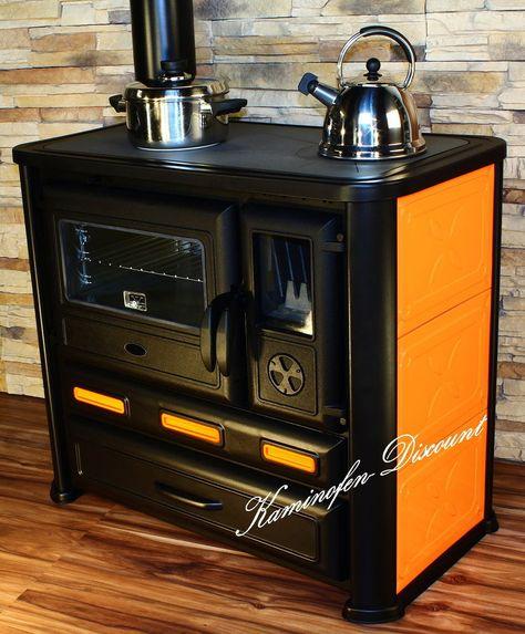 Küchenofen Holzherd Küchen-Herd Kamin-Ofen 6-10 kW Orange - holzofen für küche