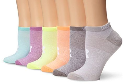 6 Pairs Assorted Colors Under Armour Women/'s Essential No-Show Liner Socks