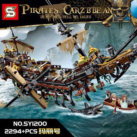 Building Blocks DIY Caribbean Battle Ship Pirates Silent Mary