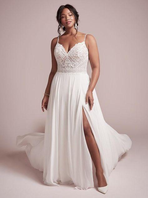 Flattering Wedding Dress, Plus Size Wedding Gowns, Wedding Dresses Plus Size, Colored Wedding Dresses, Designer Wedding Dresses, Wedding Dresses For Busty Brides, Empire Wedding Dresses, Wedding Dress Colors, Plus Size Elopement Dress