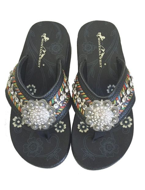 15344424a Montana West Women Flip Flops Wedged Embroidered Sandals Floral Concho Black