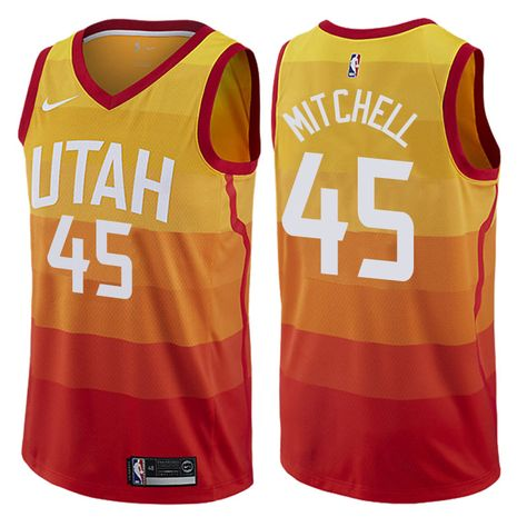 0b07f076a57 NBA Men s 2017-18 Jazz  45 Donovan Mitchell City Edition Red Gold Swingman  Jersey